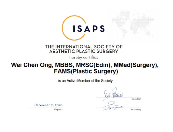 The International Society of Aesthetic Plastic Surgery Certificate