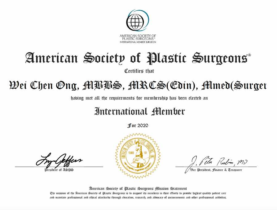 American Society of Plastic Surgeons Certificate - Dr. Ong Wei Chen